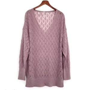Free People Say Hello Open Knit Slouchy Sweater M